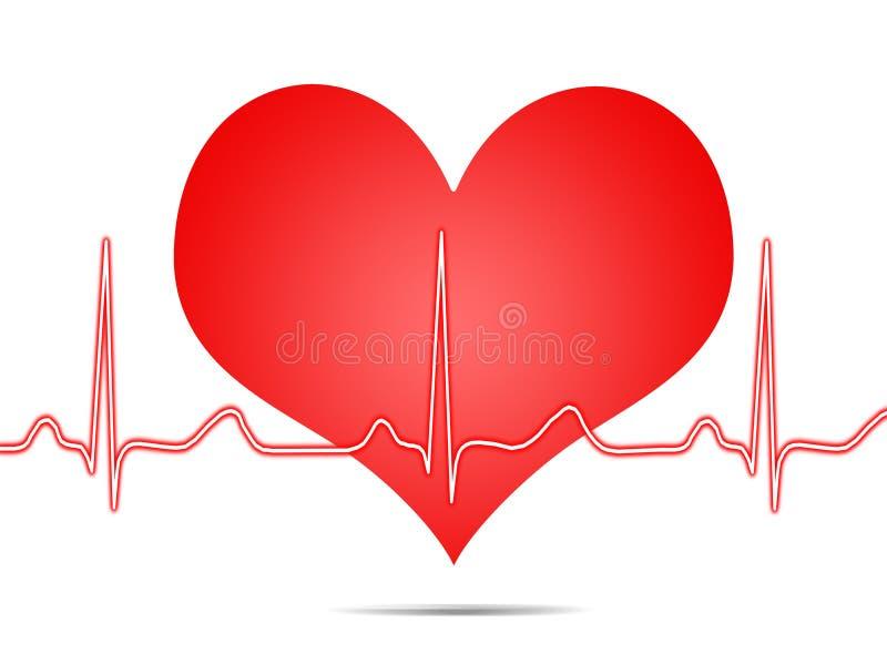 Eletrocardiograma, ecg, gráfico, traçado do pulso ilustração stock