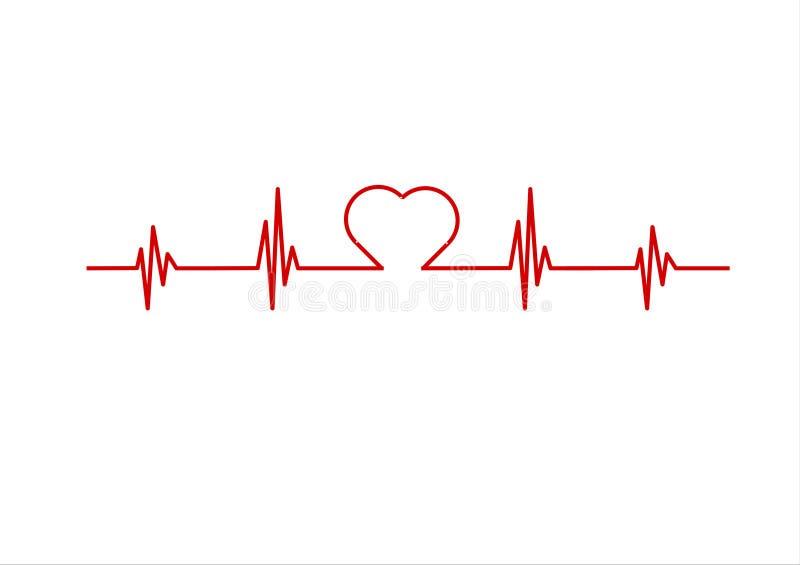 Eletrocardiograma vermelho ilustração stock