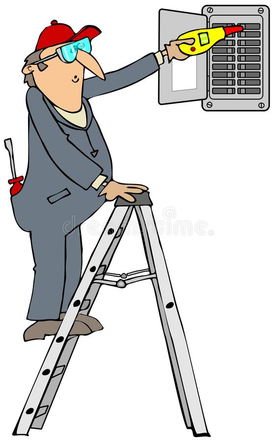 Elettricista che controlla gli interruttori illustrazione vettoriale