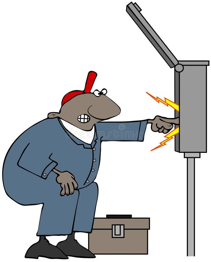 Elettricista che controlla un grande contenitore di interruttore illustrazione di stock