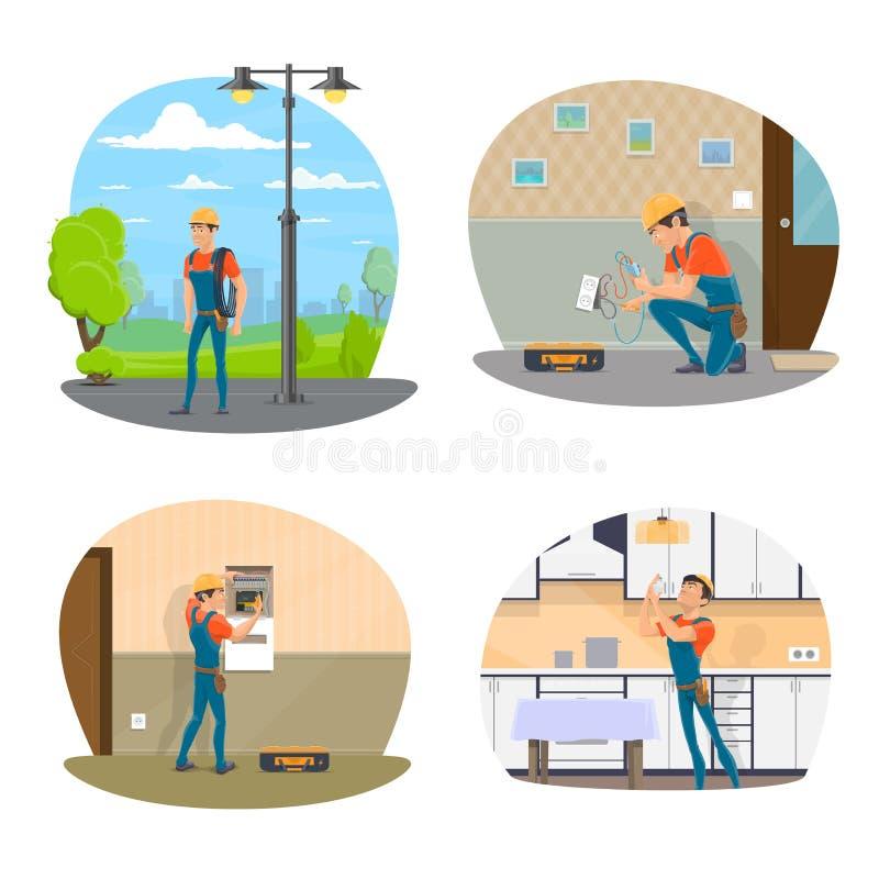 Elettricista con l'icona dello strumento di servizio elettrico illustrazione di stock