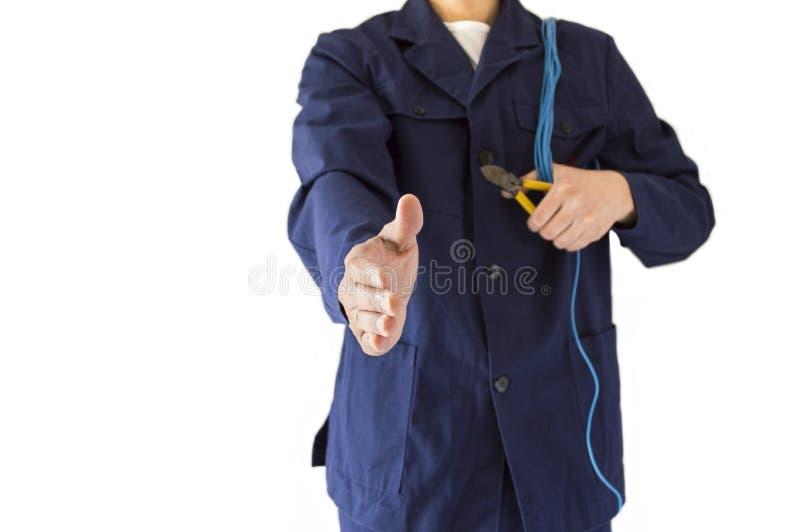 Elettricista della stretta di mano fotografie stock