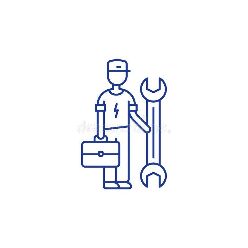 Elettricista e chiave, uomo di riparazione, lavoratore di servizio royalty illustrazione gratis