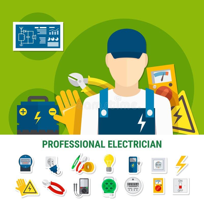 Elettricista Flat Icons Set illustrazione di stock