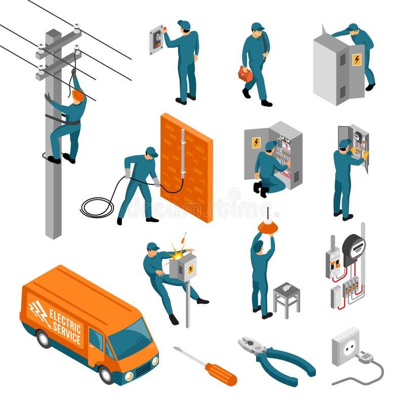 Elettricista Isometric Icons Collection illustrazione vettoriale