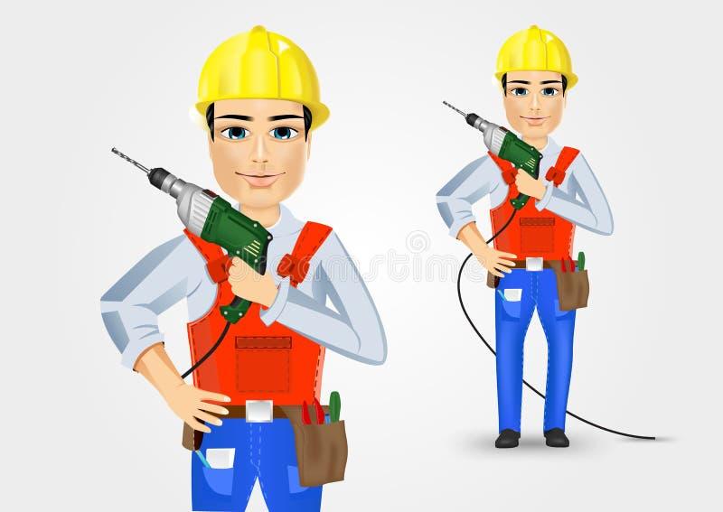 Elettricista o meccanico che tiene trapano elettrico illustrazione di stock
