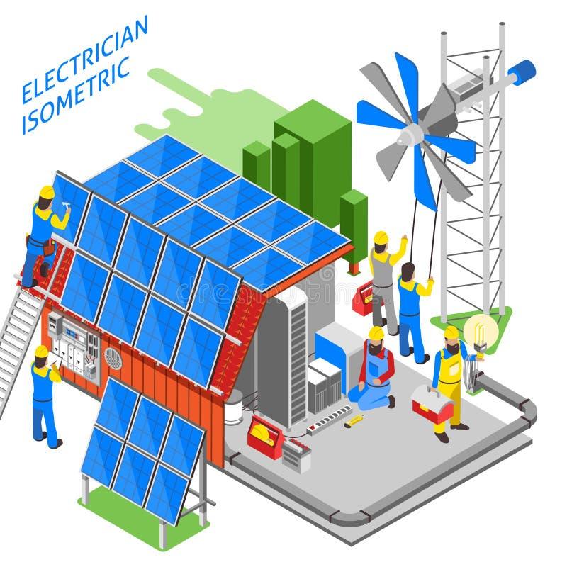 Elettricista People Isometric Composition illustrazione di stock