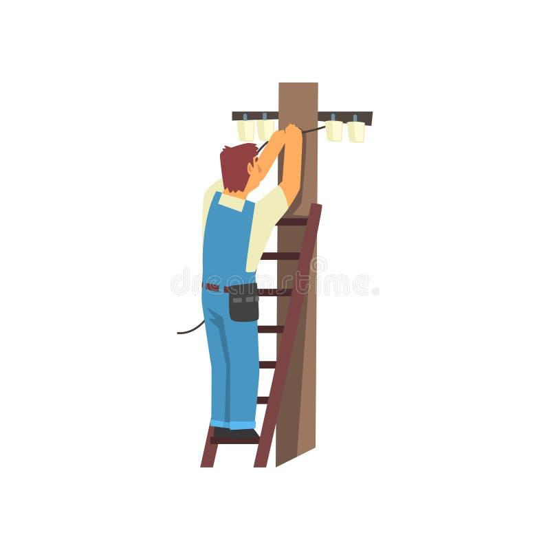 Elettricista professionista Standing sulla scala a libro che ripara cavo della linea elettrica, carattere elettrico dell'uomo in  illustrazione di stock