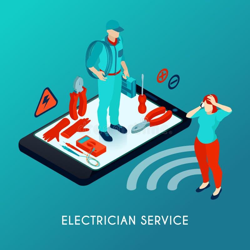 Elettricista Service Isometric Composition illustrazione di stock