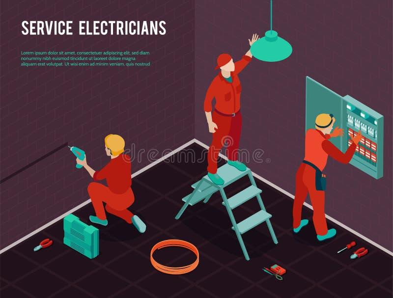 Elettricista Service Isometric Image illustrazione di stock
