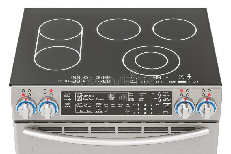 Elettrico scorrevole-nella vista superiore della gamma di convezione Stufa di cucina, 3D r royalty illustrazione gratis