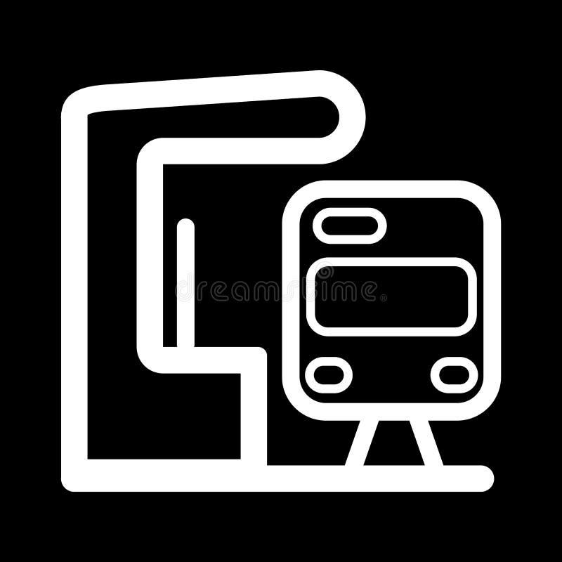 Elettro fermata del treno Icona di vettore isolata su fondo nero royalty illustrazione gratis
