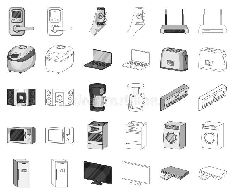 Elettrodomestici astuti monocromatici, icone del profilo nella raccolta stabilita per progettazione Simbolo moderno di vettore de royalty illustrazione gratis