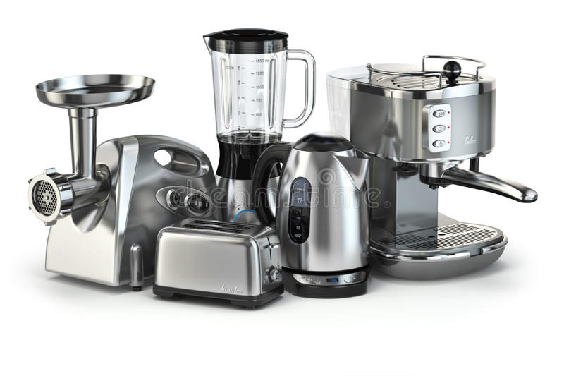 Elettrodomestici da cucina metallici Miscelatore, tostapane, macchina del caffè, m. illustrazione vettoriale