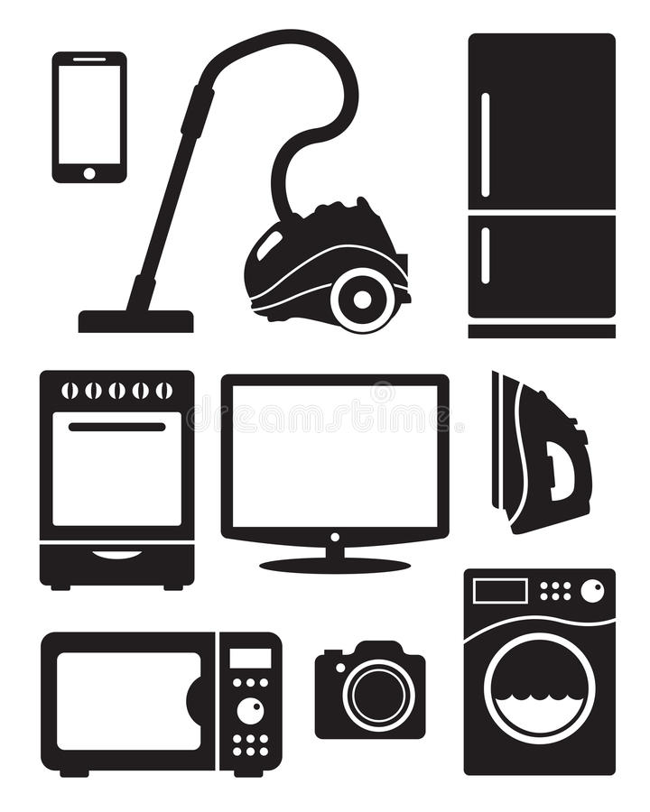Elettrodomestici ed elettronica illustrazione di stock