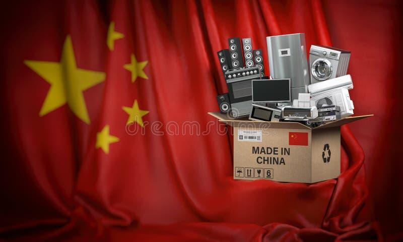 Elettrodomestici fatti in Cina Tecniche domestiche della cucina in una scatola di cartone producted e consegnata dalla Cina royalty illustrazione gratis