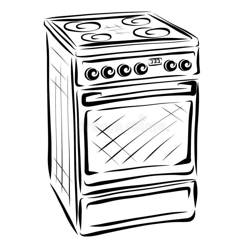Elettrodomestici, fornello, linee nere royalty illustrazione gratis
