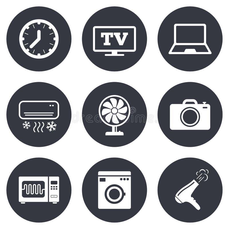 Elettrodomestici, icone del dispositivo Segno di elettronica royalty illustrazione gratis