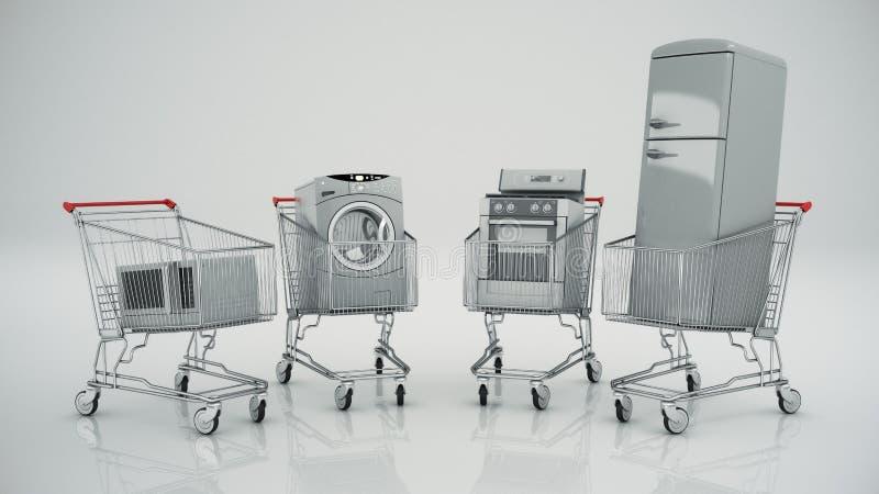 Elettrodomestici nel carrello Commercio elettronico o concetto in linea di acquisto illustrazione vettoriale