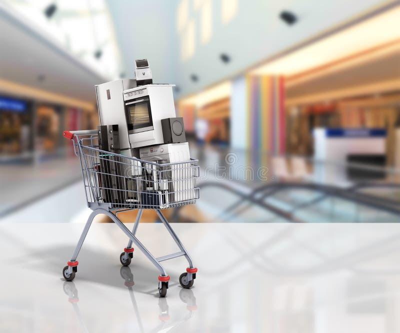 Elettrodomestici nel commercio elettronico del carrello o nello shoppi online illustrazione di stock