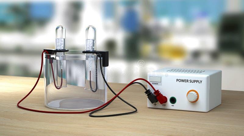 Elettrolisi di acqua sulla tavola di legno in laboratorio Chimica educativa fotografie stock