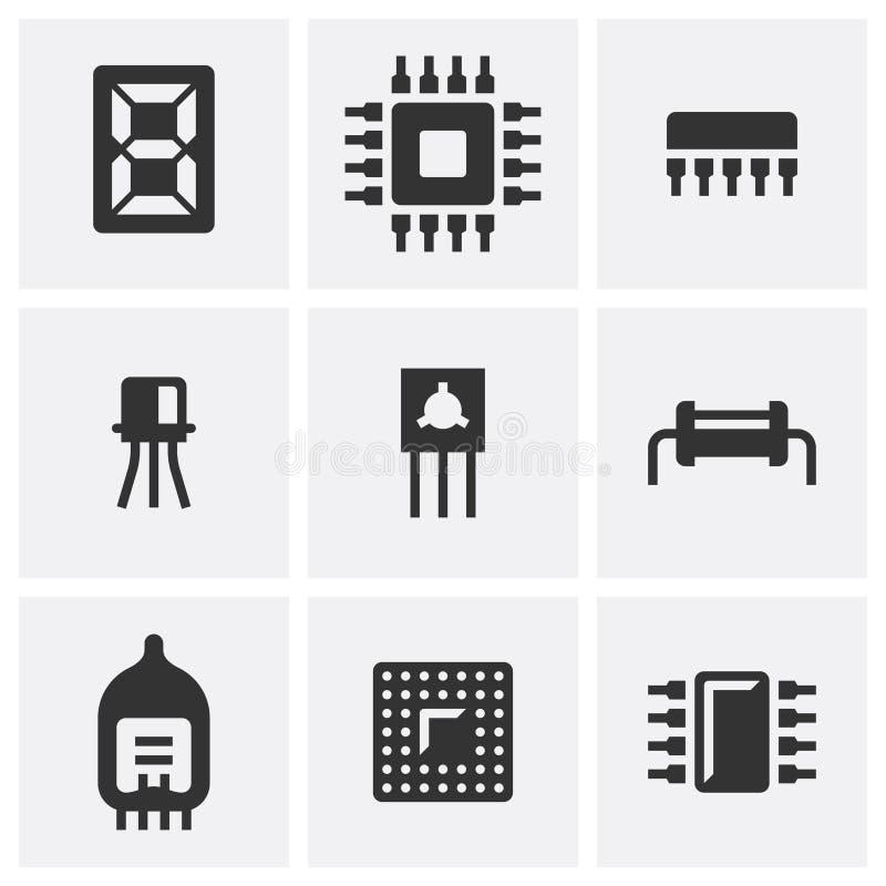 Elettronica Metta di nove icone piane illustrazione di stock