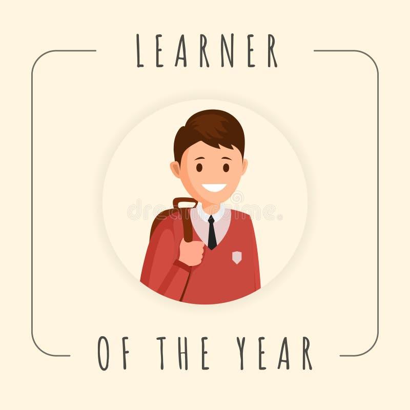Elev av mallen för årsvektorbaner Tecknad film som ler eleven, skolpojkefotografi i ram Bästa studentfotosamkväm stock illustrationer