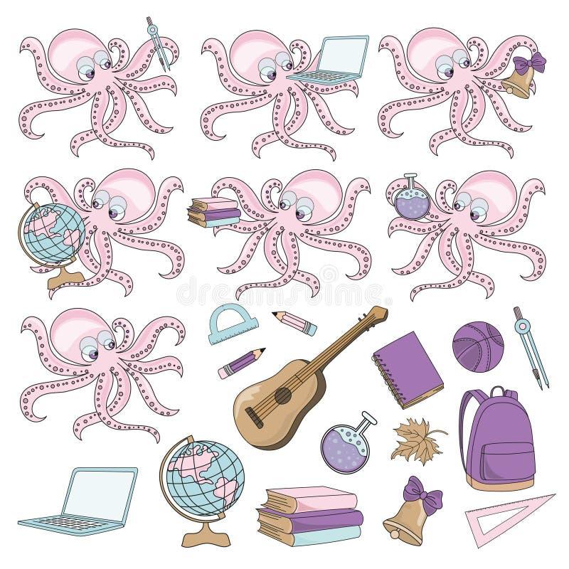 ELEV för BLÄCKFISK för skolaAutumn Sea Underwater Vector Illustration uppsättning stock illustrationer