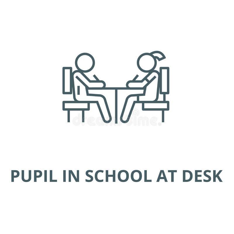 Elev i skola på skrivbordvektorlinjen symbol, linjärt begrepp, översiktstecken, symbol stock illustrationer