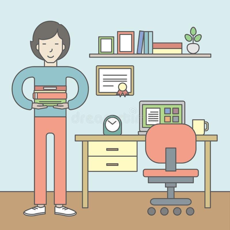 elev med böcker i rum vektor illustrationer