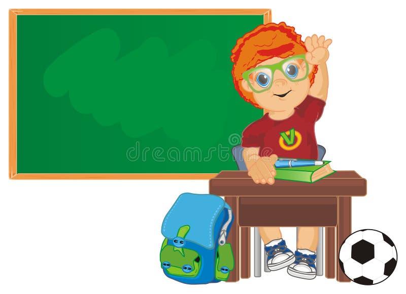 Elev med ryggsäcken och bollen royaltyfri illustrationer