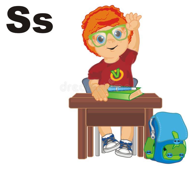 Elev och bokstäver stock illustrationer