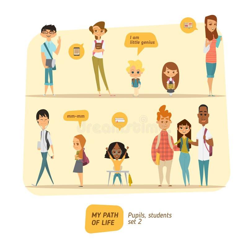 Elev- och studentvektoruppsättning royaltyfri illustrationer
