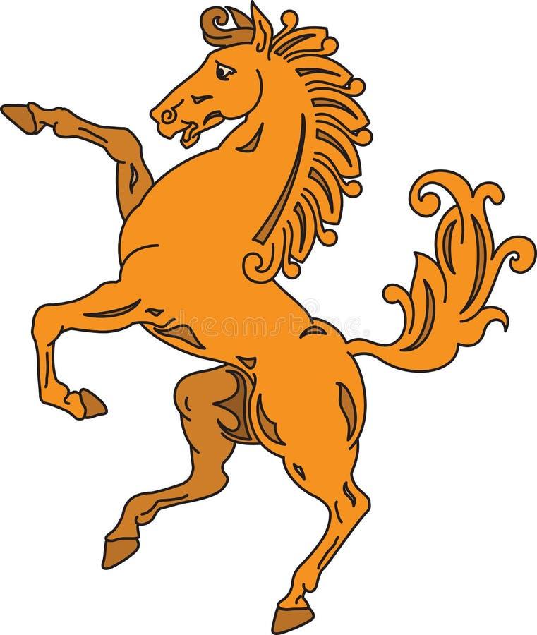 Elevação acima do símbolo heráldico da silhueta do cavalo ilustração do vetor