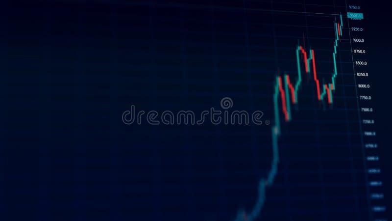 Elevação cripto do preço dos bens de Bitcoin a 9000 dólares em um uptrend com tendência para a alta ilustração royalty free