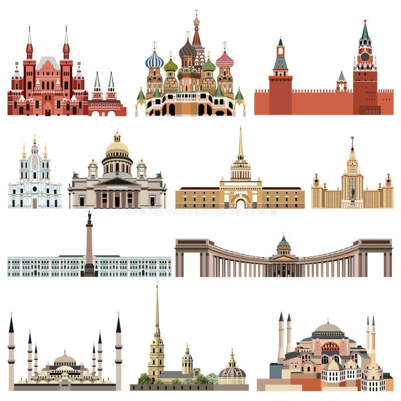 A elevação da coleção do vetor detalhou câmaras municipais isoladas, marcos, catedrais, templos, igrejas, palácios e outros eleme ilustração royalty free