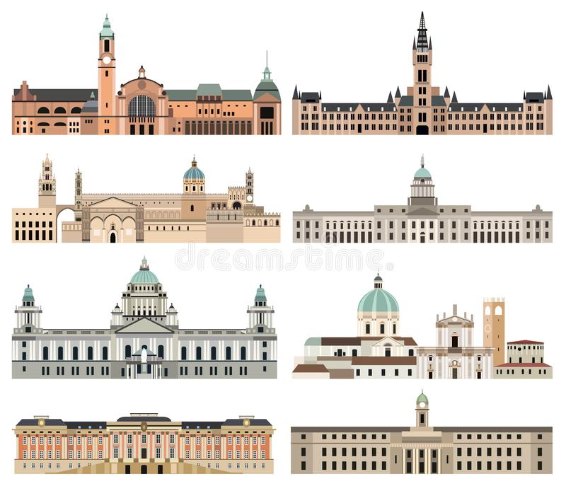 A elevação da coleção do vetor detalhou câmaras municipais isoladas, marcos, catedrais, templos, igrejas, palácios e outros eleme ilustração do vetor