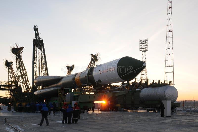 Elevação da nave espacial da carga do progresso imagens de stock