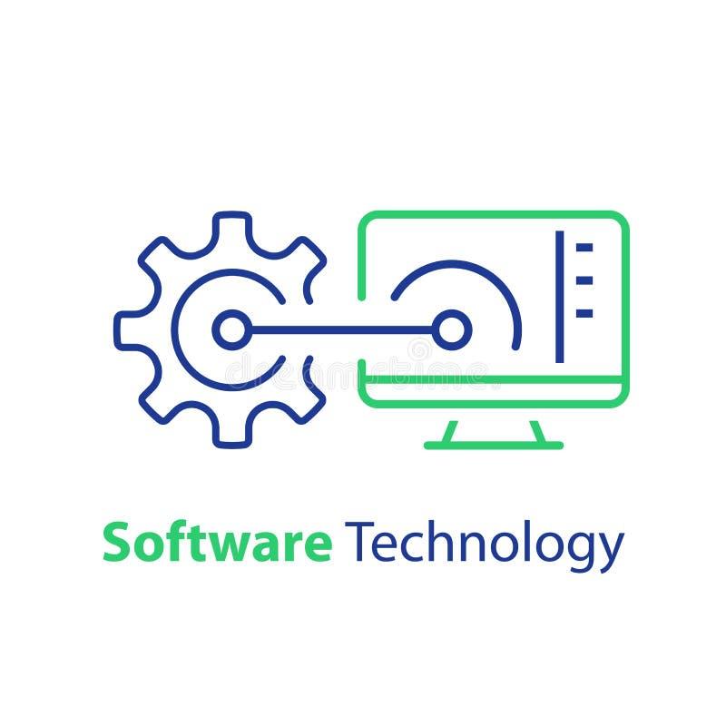 Elevação da segurança do sistema, programação de software, aprendizagem de máquina, suporte técnico e manutenção ilustração royalty free