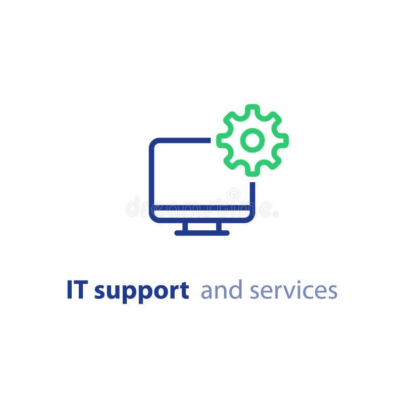 Elevação do computador, atualização do sistema, a instalação de software, serviços de reparações, linha de apoio ícone da TI ilustração do vetor