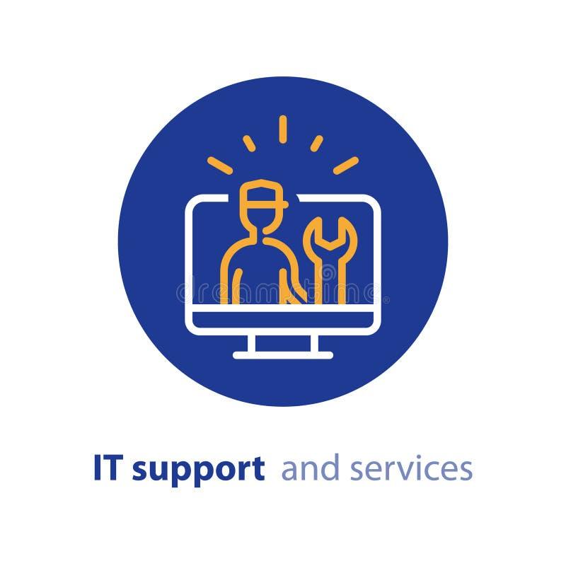 Elevação do computador, atualização do sistema, a instalação de software, serviços de reparações, linha de apoio ícone da TI ilustração royalty free
