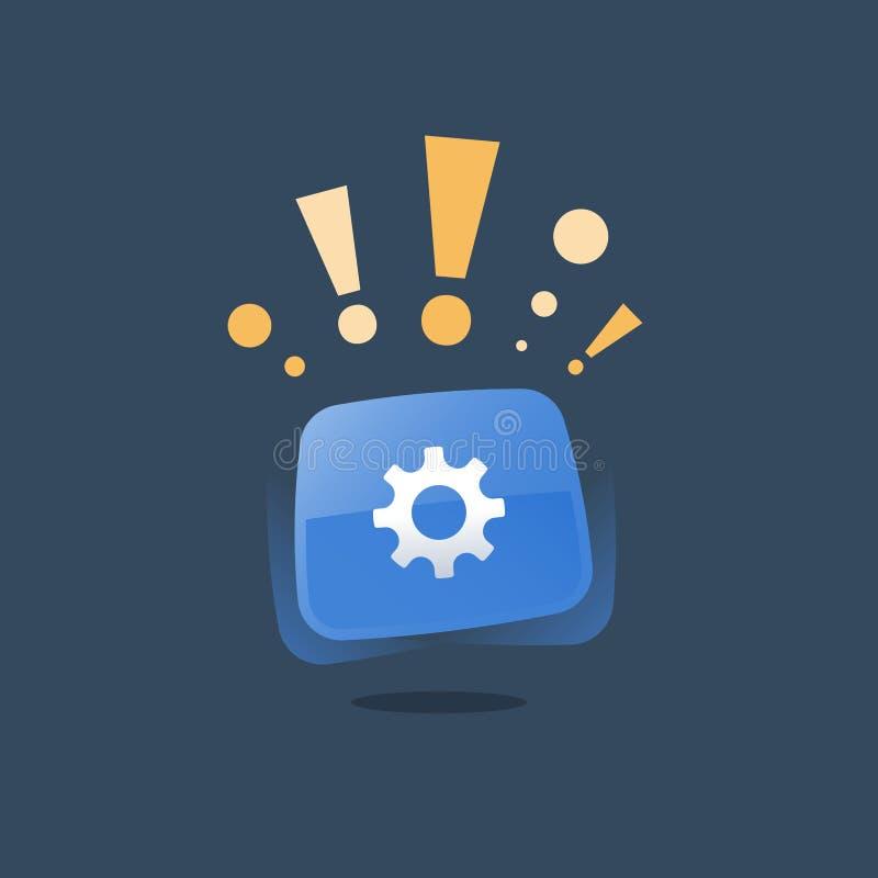 Elevação do sistema, botão azul da roda de engrenagem, manutenção e reparo, desenvolvimento de aplicações, solução simples da tec ilustração royalty free