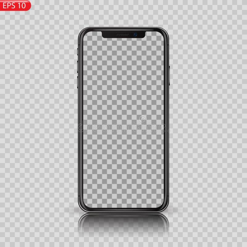 A elevação nova detalhou Smartphone realístico similar ao iphone isolado no fundo branco ilustração stock