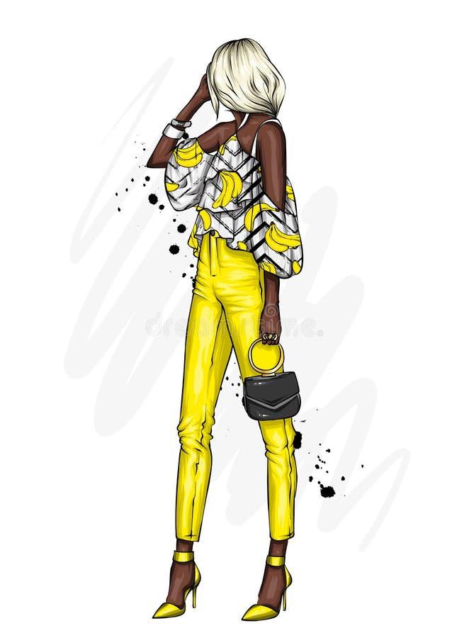 Eleva??o bonita nas cal?as e em uma camisa Roupa e acess?rios ? moda Mulher elegante Ilustra??o do vetor Forma & estilo ilustração stock