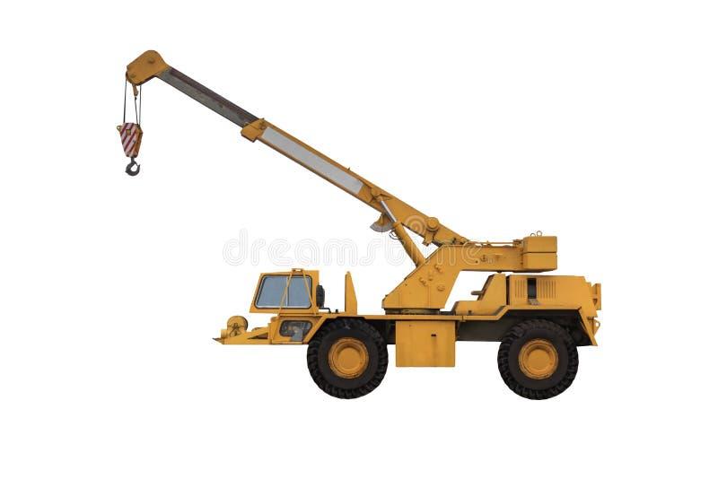Elevación amarilla de la maquinaria de construcción de la grúa del camión aislada foto de archivo libre de regalías