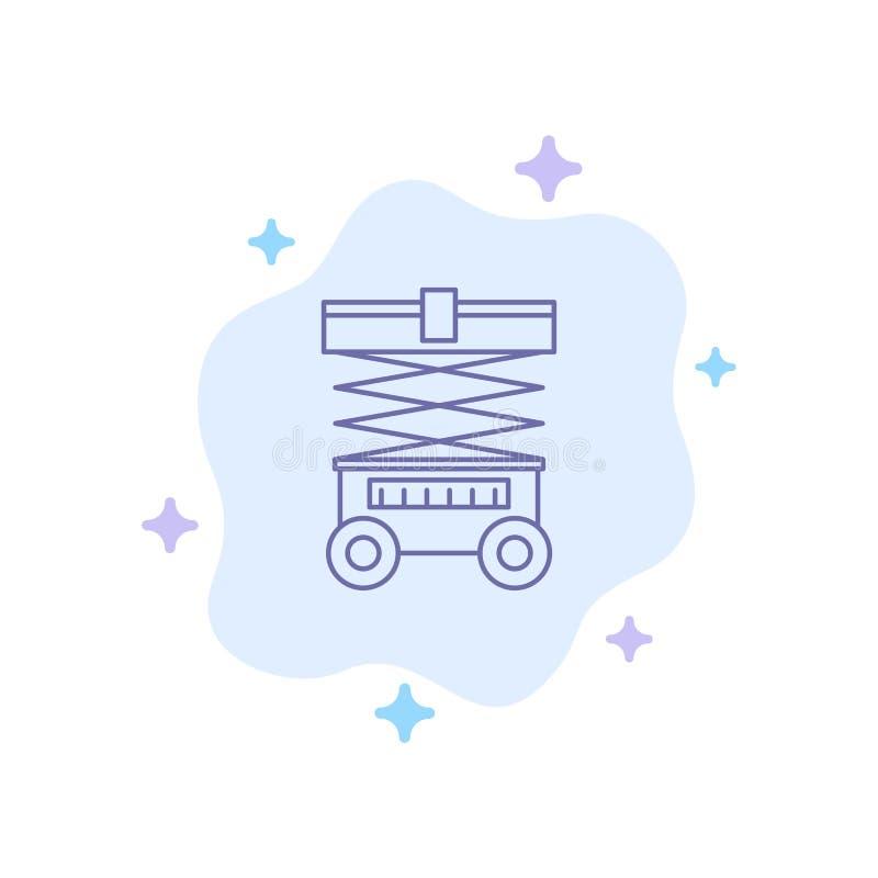 Elevación, carretilla elevadora, Warehouse, levantador, icono azul en fondo abstracto de la nube ilustración del vector