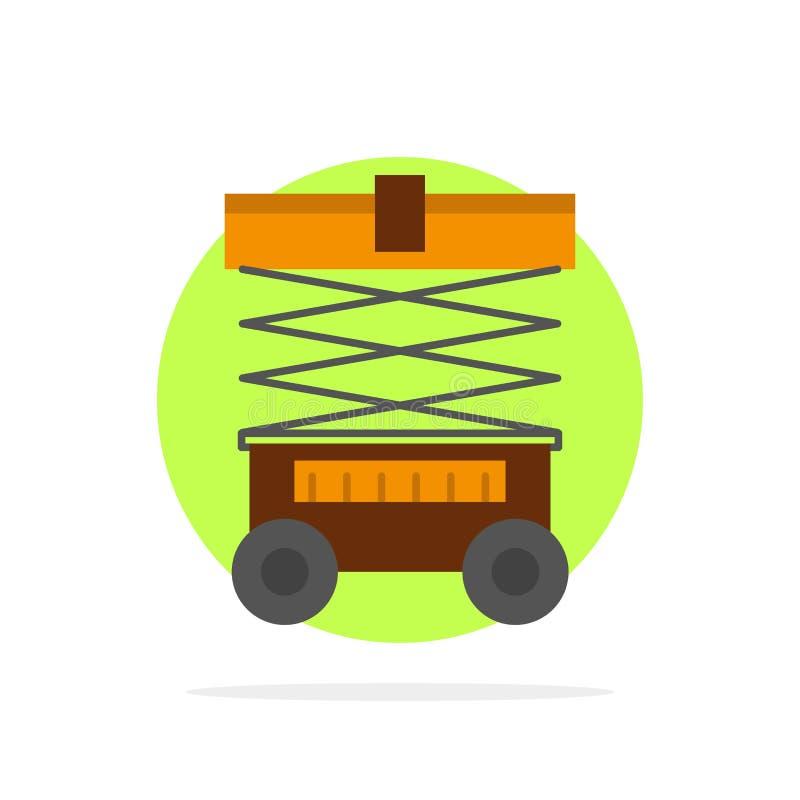 Elevación, carretilla elevadora, Warehouse, levantador, icono plano del color de fondo abstracto del círculo libre illustration