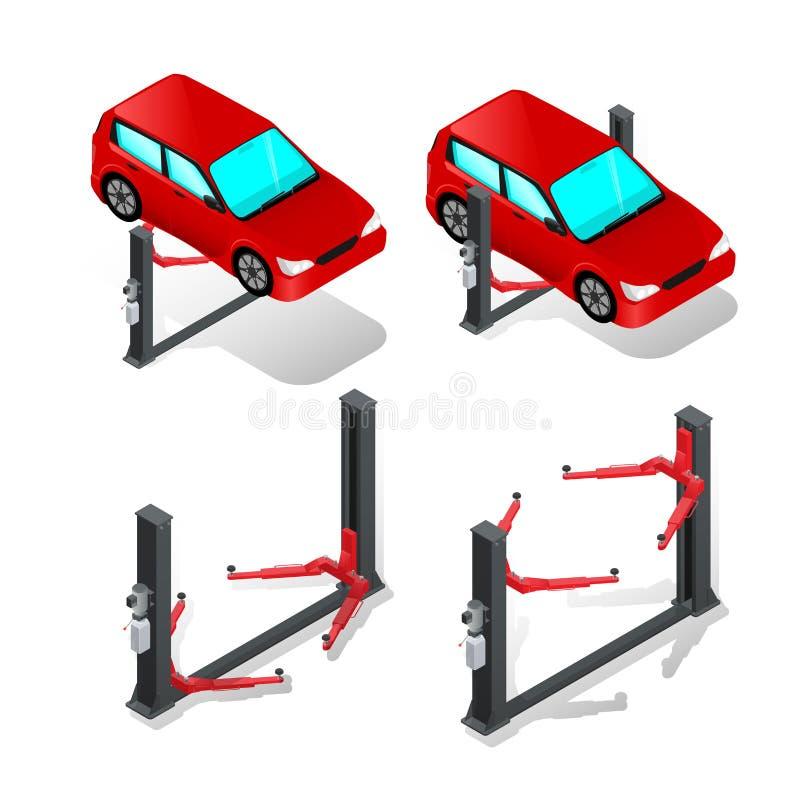 Elevación del coche, dispositivo para aumentar el coche en el taller, reparación del coche ilustración del vector