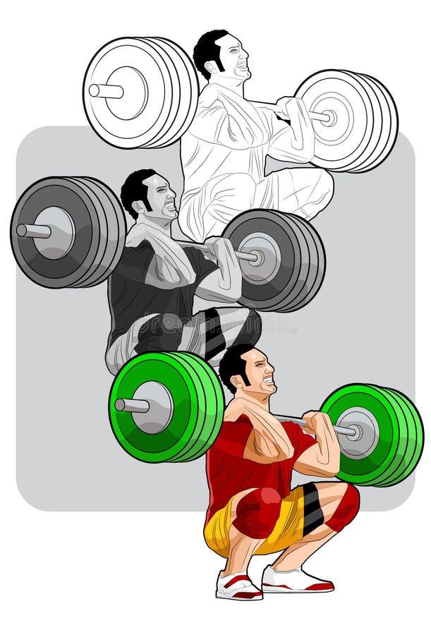 Elevación del Weightlifter stock de ilustración