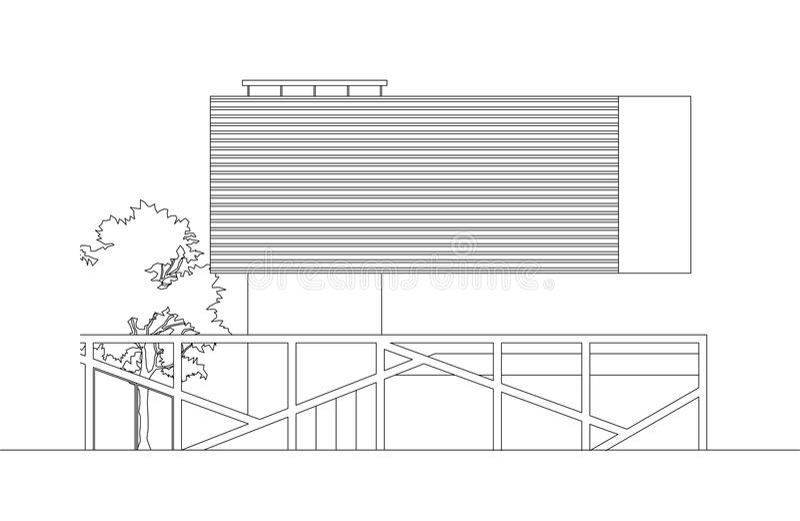 Elevación moderna flotante de la casa ilustración del vector